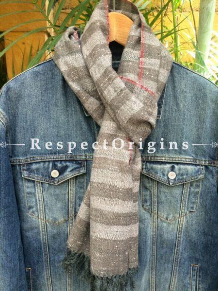 Men's Kullu Muffler; Hand Loomed Pure Wool in Grey & Beige