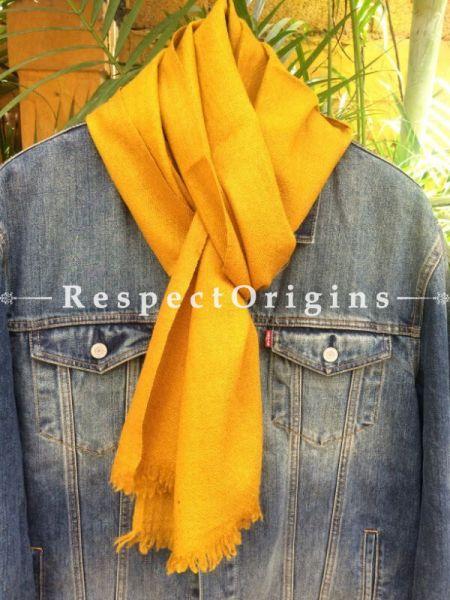 Men's Kullu Muffler; Hand Loomed Pure Wool in Yellow