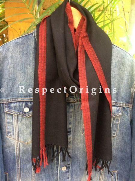 Men's Kullu Muffler; Hand Loomed Pure Wool in Black Base With Red Border