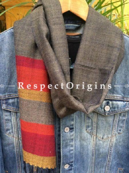 Men's Kullu Muffler; Hand Loomed Pure Wool in Grey