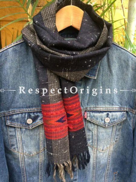 Men's Kullu Muffler; Hand Loomed Pure Wool in Black With Grey Border