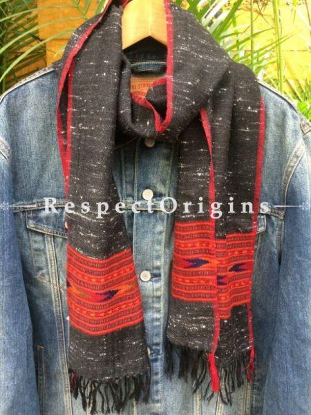 Men's Kullu Muffler; Hand Loomed Pure Wool in Black With Red Border