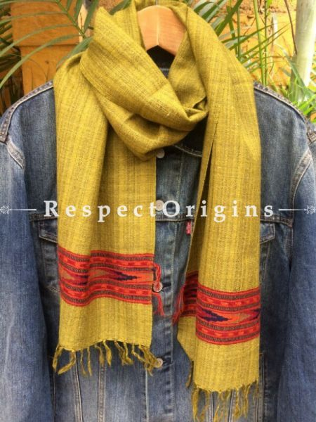Men's Kullu Muffler; Yellow Hand Loomed Pure Wool