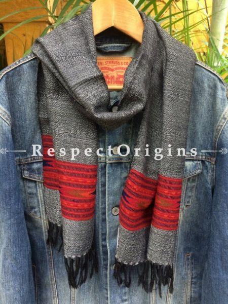 Buy Men Kullu Muffler; Grey Hand Loomed Pure Wool at RespectOrigins.com