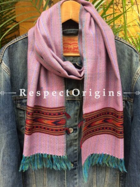 Men's Kullu Muffler; Hand Loomed Pure Wool in Pink