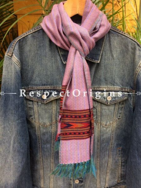 Men's Kullu Muffler; Hand Loomed Pure Wool in Pink