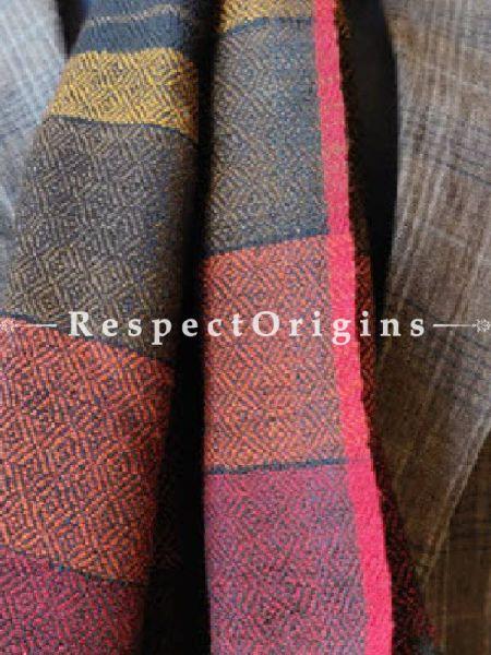 Dark Blue; Wool; Hand Woven; Men Scarf; 80x27 inches, RespectOrigins.com
