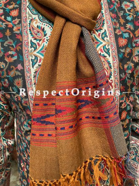 Orange and Red Pure wool Unisex Himalayan Kullu Scarf for Men and Women; RespectOrigins.com