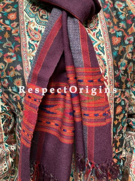Maroon and Red Pure wool Unisex Himalayan Kullu Scarf for Men and Women; RespectOrigins.com