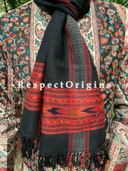 Black and Red Pure wool Unisex Himalayan Kullu Scarf for Men and Women; RespectOrigins.com