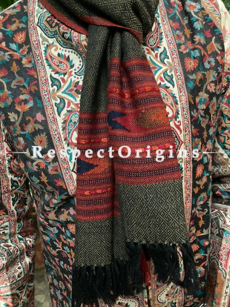Gray and Red Pure wool Unisex Himalayan Kullu Scarf for Men and Women; RespectOrigins.com
