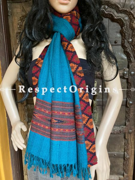 Blue and Red Handwoven Woolen Kullu Stoles From Himachal with multiColor borders; Size 80 x 28 inches; RespectOrigins.com