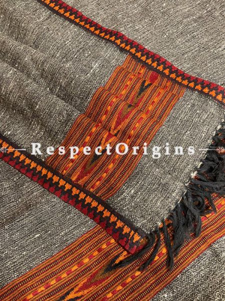 Gray Handwoven Woolen Kullu Stoles From Himachal with multiColor borders; Size 80 x 28 inches; RespectOrigins.com
