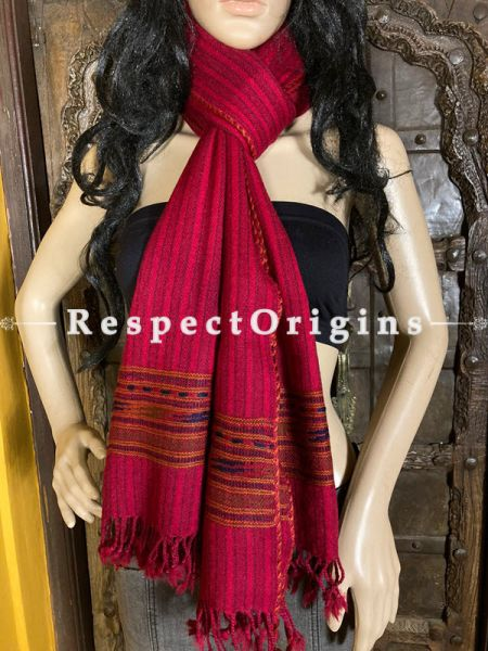 Red Handwoven Woolen Kullu Stoles From Himachal with multiColor borders; Size 80 x 28 inches; RespectOrigins.com