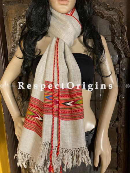 Gray and Red Handwoven Kullu Handloom Pure Woolen Warm and Soft Traditional Himachal Shawl for Women; Red and Blue Border; 80 x 38 In; RespectOrigins.com