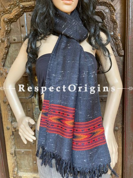 Black Handwoven Woolen Kullu Stoles From Himachal with multiple Red borders; Size 80 x 28 inches; RespectOrigins.com