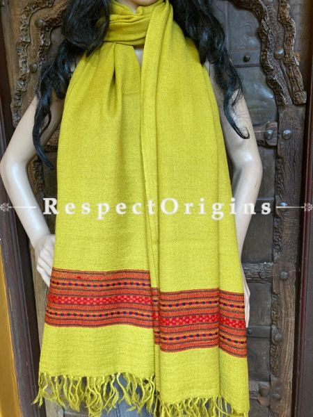 Yellow Handwoven Woolen Kullu Stoles From Himachal with multiple Red borders; Size 80 x 28 inches; RespectOrigins.com
