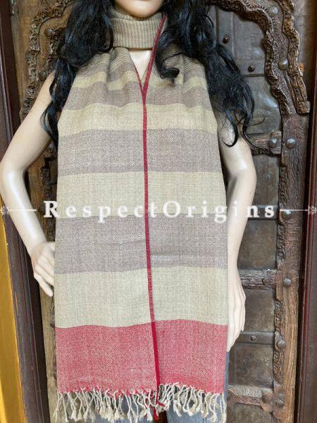 Beige Handwoven Woolen Kullu Stoles From Himachal with multiple Red borders; Size 80 x 28 inches; RespectOrigins.com