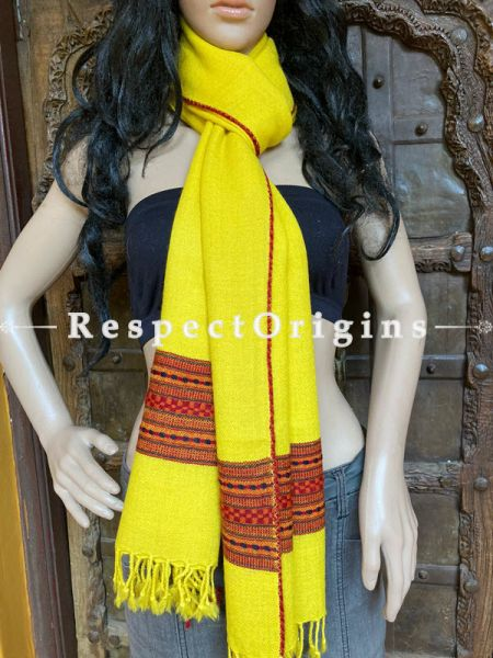 Ethnic Yellow Handwoven Woolen Kullu Stoles From Himachal with multiple Red borders; Size 80 x 28 inches; RespectOrigins.com