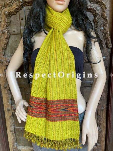 Vibrant Yellow Handwoven Woolen Kullu Stoles From Himachal with multiple Red borders; Size 80 x 28 inches; RespectOrigins.com