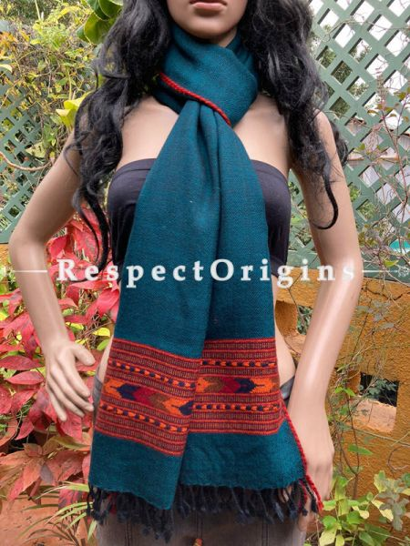Blue Handwoven Woolen Kullu Stoles From Himachal with multiple Red borders; Size 80 x 28 inches; RespectOrigins.com