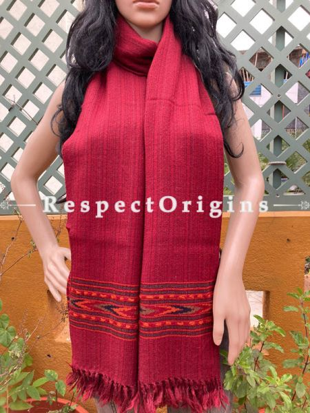 Red Handwoven Woolen Kullu Stoles From Himachal with multiple Multicolor borders; Size 80 x 28 inches; RespectOrigins.com