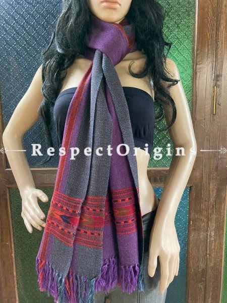 Purple Handwoven Woolen Kullu Stoles From Himachal with multiple Red borders; Size 80 x 28 inches; RespectOrigins.com