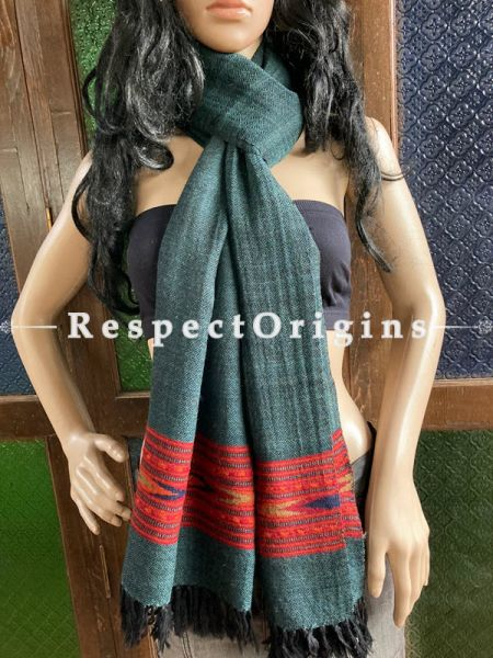 Gray Handwoven Woolen Kullu Stoles From Himachal with multiple Red borders; Size 80 x 28 inches; RespectOrigins.com