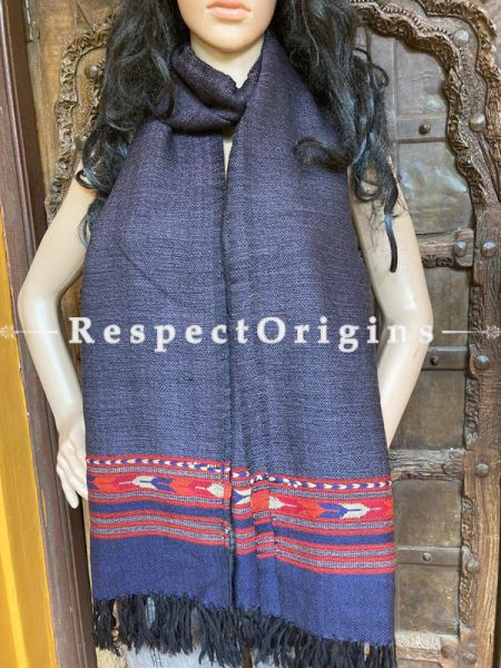Classic Black Handwoven Woolen Kullu Stoles From Himachal with multiple Red borders; Size 80 x 28 inches; RespectOrigins.com