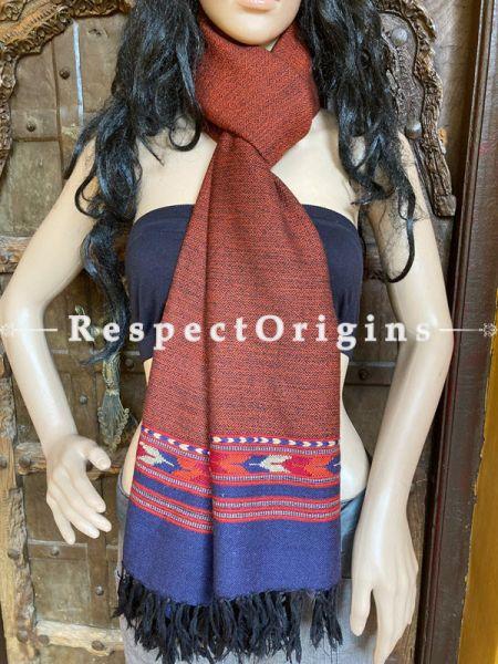 Brown Handwoven Woolen Kullu Stoles From Himachal with multiple Blue borders; Size 80 x 28 inches; RespectOrigins.com