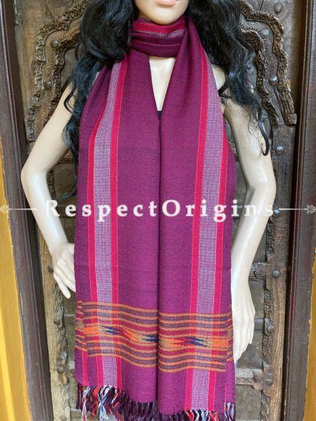 Maroon Handwoven Woolen Kullu Stoles From Himachal with multiple Multicolor borders; Size 80 x 28 inches; RespectOrigins.com