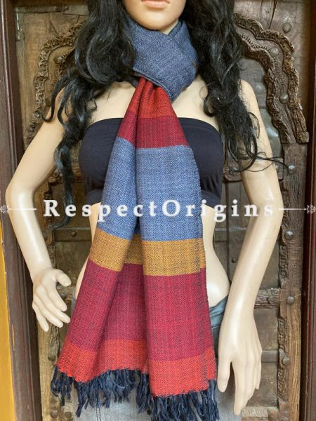 Classic Gray Handwoven Woolen Kullu Stoles From Himachal with multiple Red borders; Size 80 x 28 inches; RespectOrigins.com