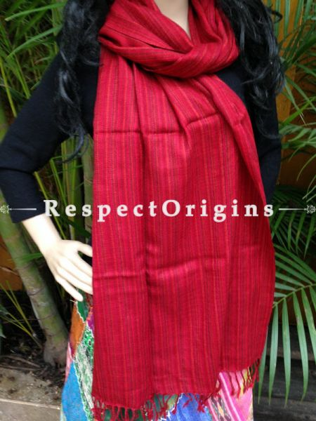 Red Handwoven Woolen Kullu Stoles From Himachal with multiple borders; Size 80 x 28 inches; RespectOrigins.com