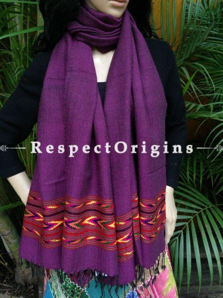 Purple Handwoven Woolen Kullu Stoles From Himachal with multiColor borders; Size 80 x 28 inches; RespectOrigins.com