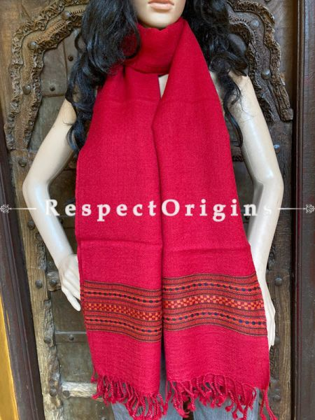 Red Handwoven Woolen Kullu Stoles From Himachal with multiple Brown borders; Size 80 x 28 inches; RespectOrigins.com