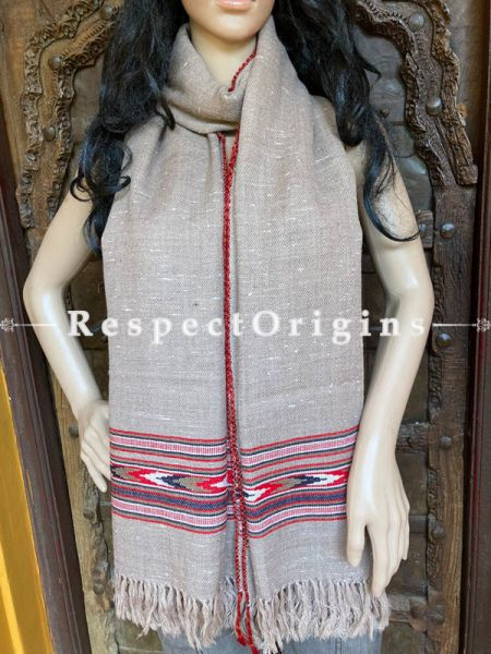 Gray  Handwoven Woolen Kullu Stoles From Himachal with multiple Multicolored borders; Size 80 x 28 inches; RespectOrigins.com