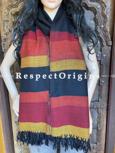 Black Handwoven Woolen Kullu Stoles From Himachal with multiple borders; Size 80 x 28 inches; RespectOrigins.com
