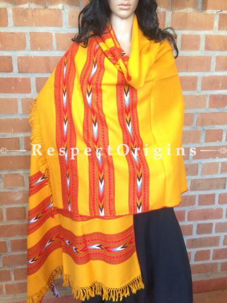 Yellow Handwoven Kullu Stole; RespectOrigins.com