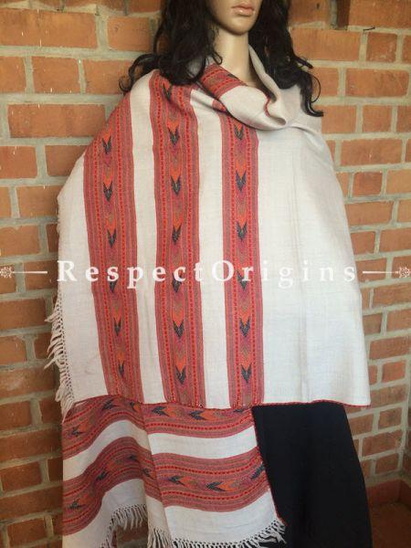 Handwoven Grey Kullu Stole; Style in 3 layers; Woolen; RespectOrigins.com