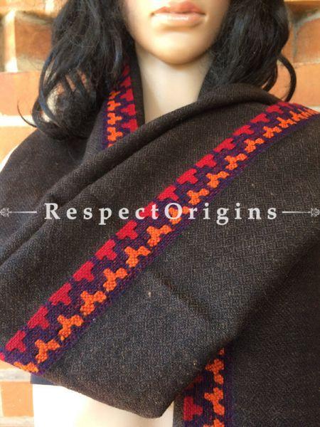 Black Kullu Hand Woven Stole; Wool; RespectOrigins.com