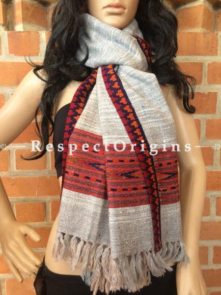 White Grey Handwoven Kullu Stole Woolen; RespectOrigins.com