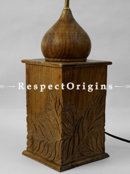 Buy Khatamband Walnut Wood Table Lamp; 12 Inches Height, 6 Inches Width   at RespectOrigins.com