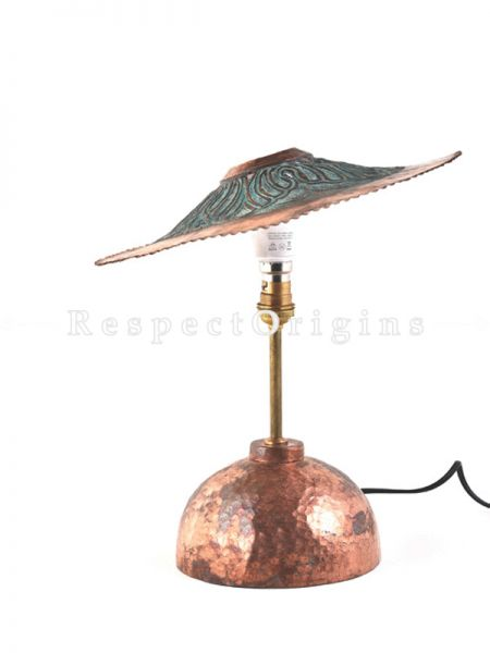 Buy Copper Embossed Table Lamp With Round Base; 12 Inches Height,12 Inches Width. Shade Included   at RespectOrigins.com