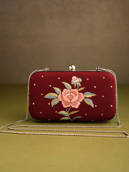 Red Parsi Gara Embroidery Clutch with Rose Spray pattern and Hard  Purse With Detachable Metal Strap; RespectOrigins.com