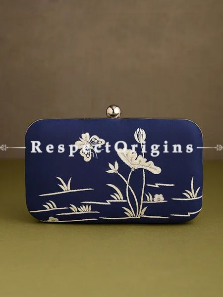 Blue Parsi Gara Embroidery Clutch with Crane and Lotus in Water pattern and Hard  Purse With Detachable Metal Strap; RespectOrigins.com