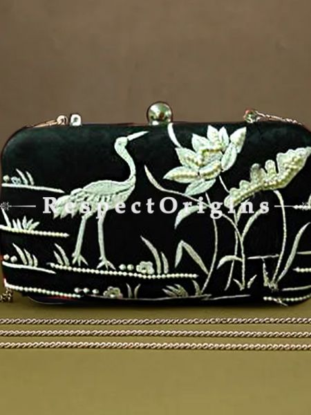 Black Parsi Gara Embroidery Clutch with Rose Spray pattern and Hard  Purse With Detachable Metal Strap; RespectOrigins.com