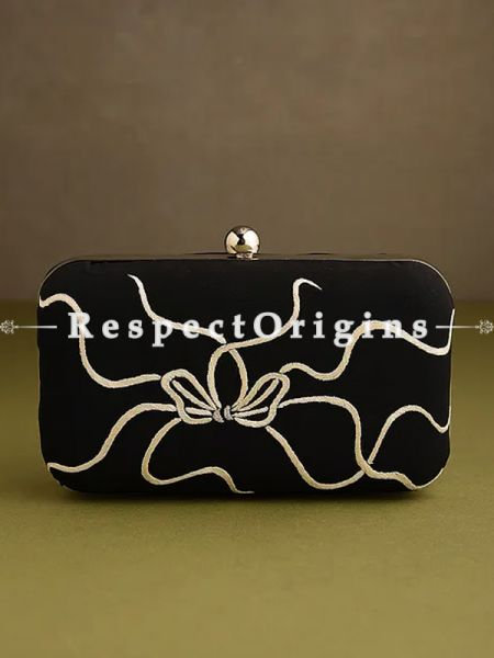 Black Parsi Gara Embroidery Clutch with Bows and Baskets pattern and Hard  Purse With Detachable Metal Strap; RespectOrigins.com