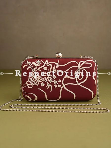 Red Parsi Gara Embroidery Clutch with Bows and Baskets pattern and Hard  Purse With Detachable Metal Strap; RespectOrigins.com