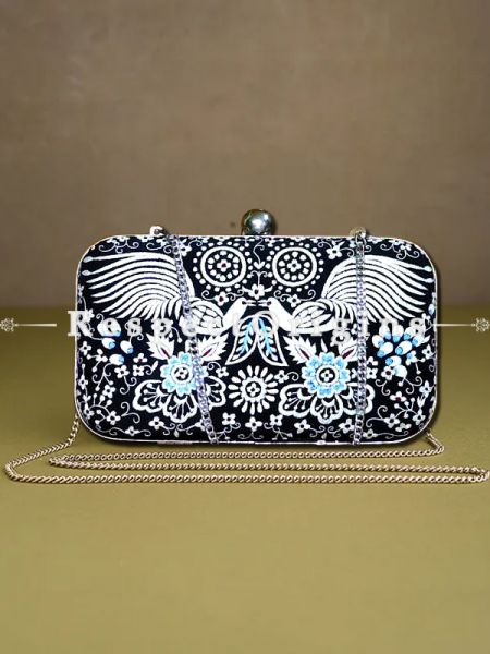 Black Parsi Gara Embroidery Clutch with Peacock pattern and Hard  Purse With Detachable Metal Strap; RespectOrigins.com