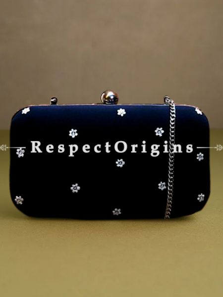 Black Parsi Gara Embroidery Clutch with White flower trellis pattern and Hard  Purse With Detachable Metal Strap; RespectOrigins.com